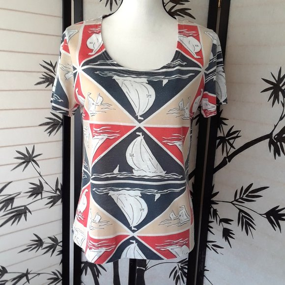 Vintage Tops - Vintage Graff Geometric Sailboat Print Beach Shirt